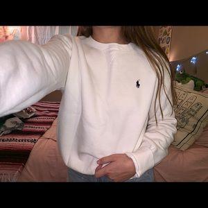 Polo Ralph Lauren White Cozy Crew Neck Sweatshirt